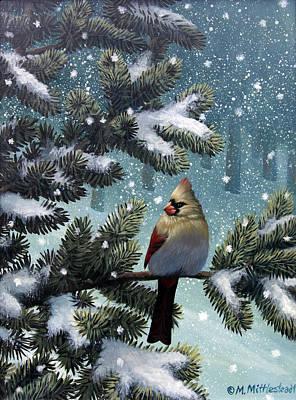 Female Cardinal Original by Mark Mittlesteadt