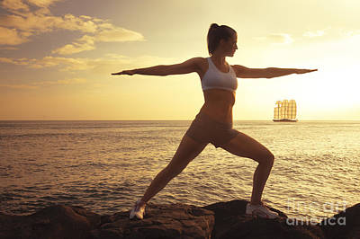 Female Doing Yoga At Sunset Print by Brandon Tabiolo - Printscapes