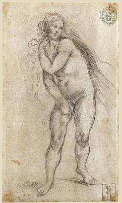 Drawing - Female Figure. Expulsion Of Eve From Paradise by Francesco Furini