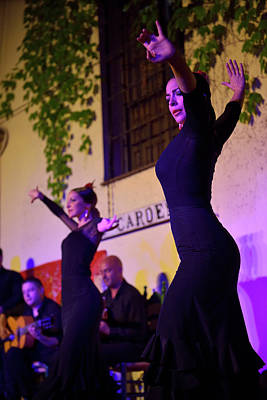 Andalusia Photograph - Female Flamenco Dancers On Stage At Night In An Outdoor Courtyar by Reimar Gaertner
