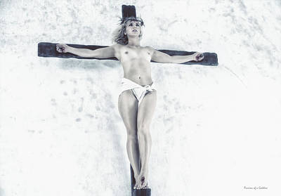 Female Christ Photograph - Female Jesus On Crucifix by Ramon Martinez