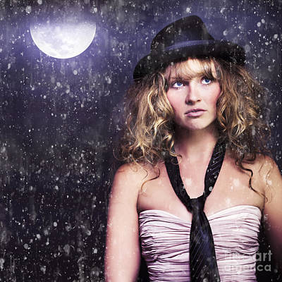 Female Moon Light Night Performer Acting In Rain Print by Jorgo Photography - Wall Art Gallery