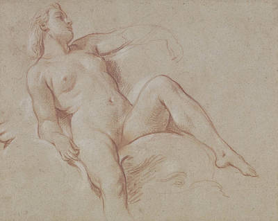 Dolphin Drawing - Female Nude On A Dolphin by Francois Boucher