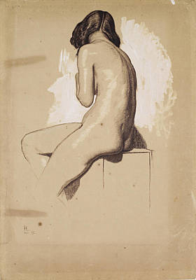 William Holman Hunt Drawing - Female Nude. Study From Behind by William Holman Hunt