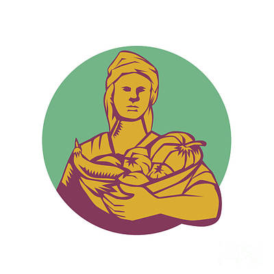 Female Organic Farmer Basket Harvest Circle Woodcut Print by Aloysius Patrimonio