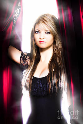 Female Performer Behind The Stage Curtain Light Print by Jorgo Photography - Wall Art Gallery