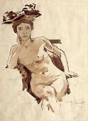 Lovis Corinth Drawing - Female Semi-nude With Hat by Lovis Corinth