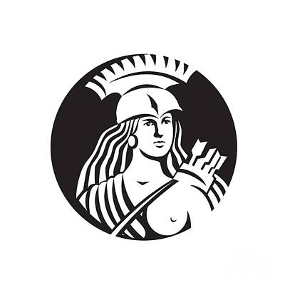 Archer Digital Art - Female Spartan Warrior Circle Black And White by Aloysius Patrimonio