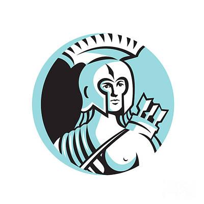 Archer Digital Art - Female Spartan Warrior Circle Retro by Aloysius Patrimonio
