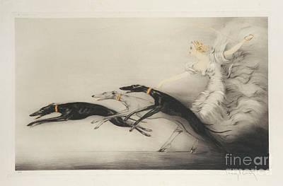 Louis Icart Painting - Femme Aux Levriers by Louis Icart