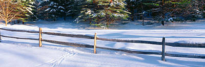 Fence And Snow In Winter, Vermont Print by Panoramic Images