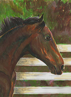 Thoroughbred Painting - Fenced In by Arline Wagner