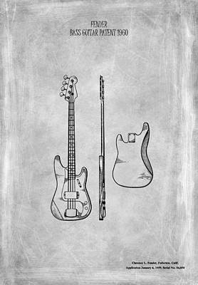 Guitar Photograph - Fender Bass Guitar Patent 1960 by Mark Rogan
