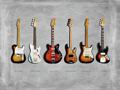 Bass Photograph - Fender Guitar Collection by Mark Rogan