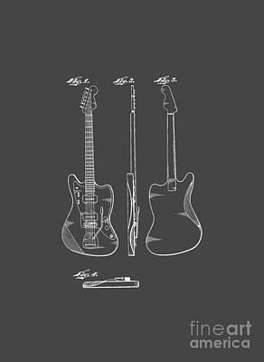 Fender Guitar Drawing Tee Print by Edward Fielding