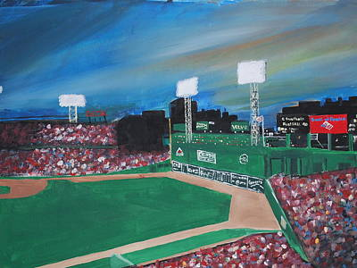 Fenway Park Painting - Fenway Night by Leo Artist