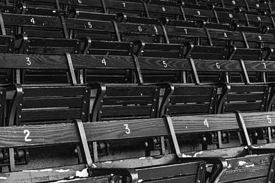 Boston Red Sox Photograph - Fenway Park Blue Bleachers Bw by Susan Candelario