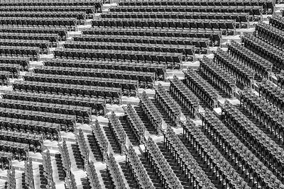 Boston Red Sox Photograph - Fenway Park Green Bleachers Bw by Susan Candelario