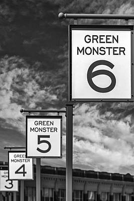 Baseball Photograph - Fenway Park Green Monster Section Signs Bw by Susan Candelario