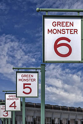 Fenway Park Green Monster Section Signs Print by Susan Candelario