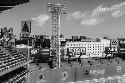 Boston Red Sox Photograph - Fenway Park Green Monster Wall Bw by Susan Candelario