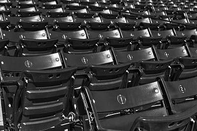 Boston Red Sox Photograph - Fenway Park Red Bleachers Bw by Susan Candelario