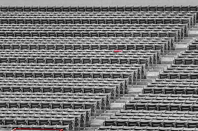 Boston Red Sox Photograph - Fenway Park Red Chair Number 21 Bw by Susan Candelario