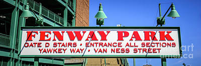 Boston Red Sox Photograph - Fenway Park Sign Gate D Entrance Panorama Photo by Paul Velgos