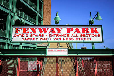 Red Sox Photograph - Fenway Park Sign Gate D Entrance Photo by Paul Velgos