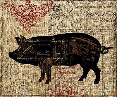Ferme Farm Piglet Print by Mindy Sommers