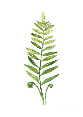 Fern Leaf Watercolor Painting Print by Joanna Szmerdt