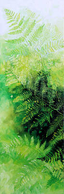 Pentaptych Painting - Ferns 1 by Hanne Lore Koehler