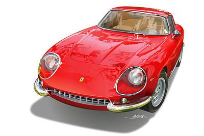Southern Drawing - Ferrari 275 Gtb Illustration by Alain Jamar