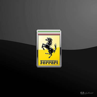 Transportation Photograph - Ferrari 3d Badge- Hood Ornament On Black by Serge Averbukh