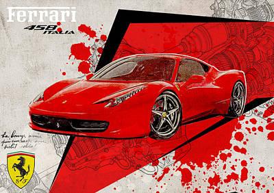 Ferrari 458 Italia Print by Yurdaer Bes