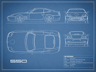 Ferrari 550 Blueprint Print by Mark Rogan