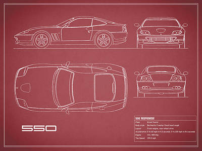 Ferrari 550 Blueprint - Red Print by Mark Rogan