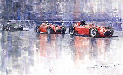 Ferrari Painting - Ferrari D50 Monaco Gp 1956 by Yuriy  Shevchuk