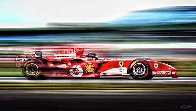 Driver Digital Art - Ferrari Unbridled by Peter Chilelli