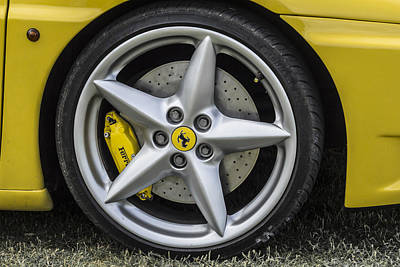 Yellow Photograph - Ferrari Wheel 430 by Claire  Doherty