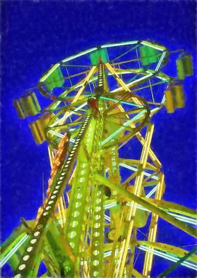 Amusements Mixed Media - Ferris Wheel At Night by Dan Sproul