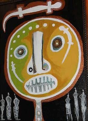 Weusi Art Mixed Media - Fertility Mask by Robert Daniels