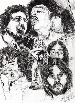 Singer Drawing - Festival Icons by Vincent Alexander Booth