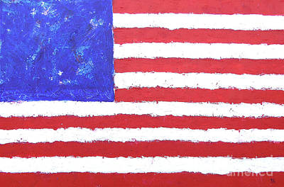 Abstract American Flag Painting - Festive America by Roberto Concha