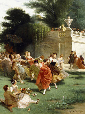Enjoyment Painting - Fete Champetre by Emile Antoine Bayard