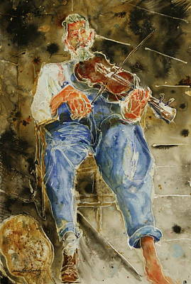 Fiddler With One Shoe Print by Shirley Sykes Bracken