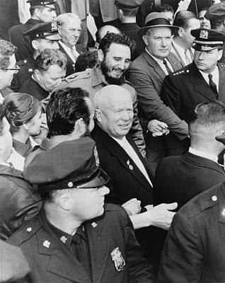 Nikita Photograph - Fidel Castro And Nikita Khrushchev by Everett