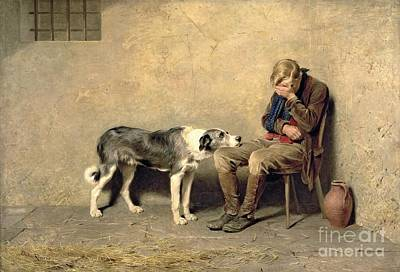 Men Painting - Fidelity by Briton Riviere