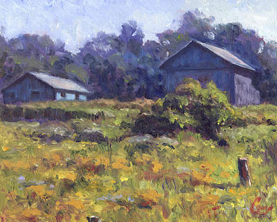 Shed Painting - Field, Barn, And Shed by Michael Camp