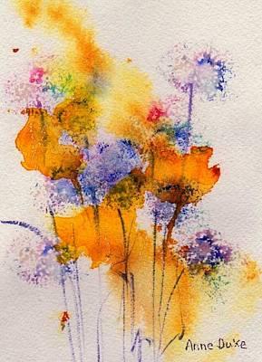 Poppies Field Painting - Field Flowers by Anne Duke